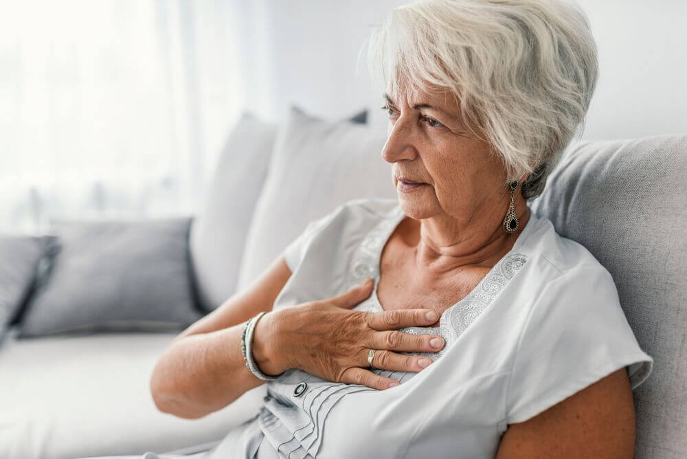 Senior Woman Chest Discomfort